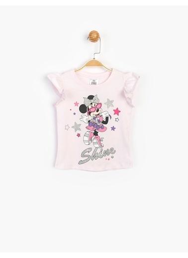Minnie Mouse  Sim Baskılı Çocuk Tişört 15528 Pembe